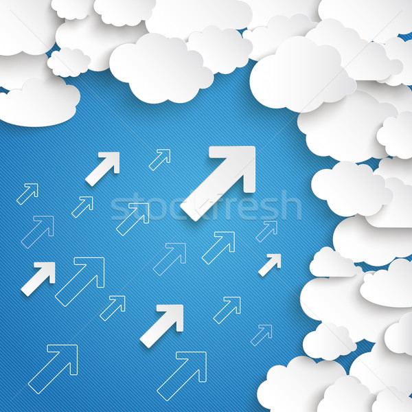 Fehér papír felhők kicsi nyilak kék ég Stock fotó © limbi007