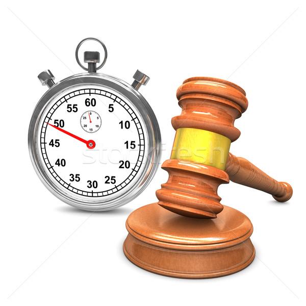 árverés kalapács stopperóra fehér óra törvény Stock fotó © limbi007