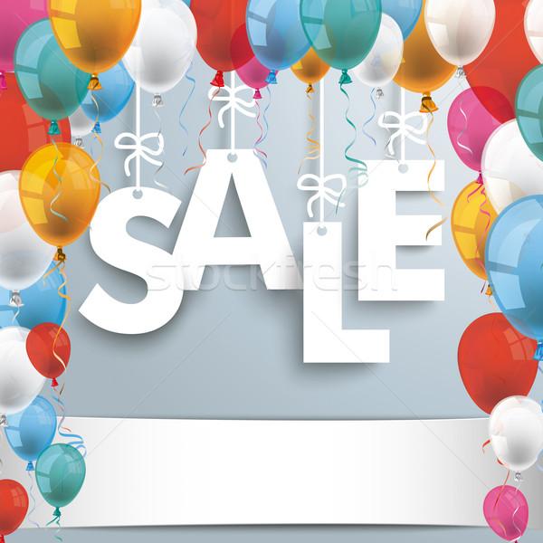 Sale Gray Background Balloons Stock photo © limbi007
