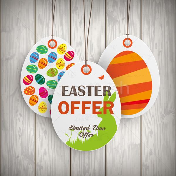 3 Easter Offer White Price Sticker Wooden Wall Stock photo © limbi007