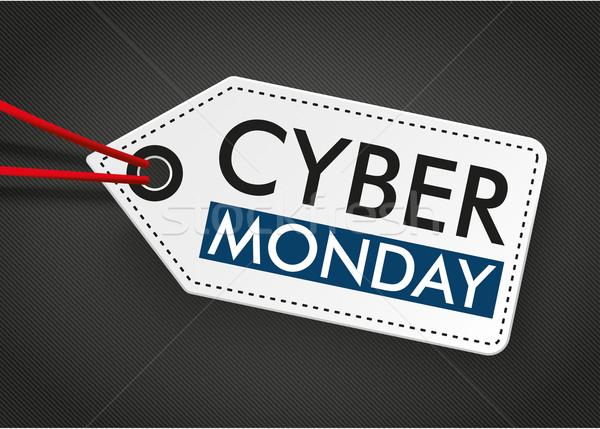 Price Sticker Cyber Monday Dark Background Stock photo © limbi007