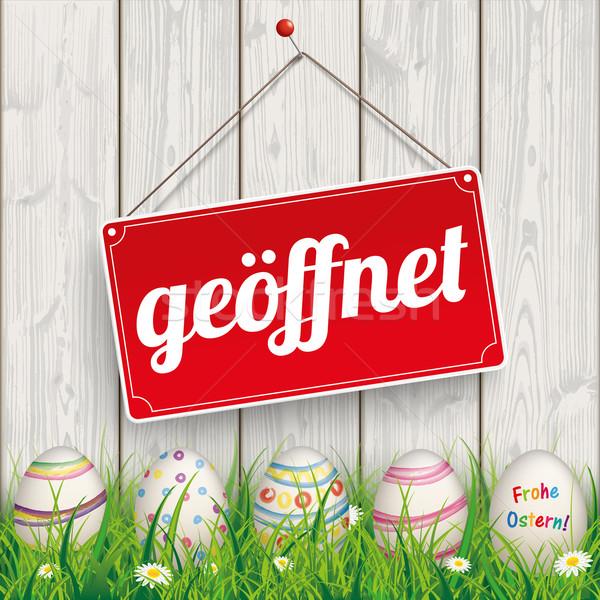 Easter Eggs Grass Wod Geoeffnet Stock photo © limbi007