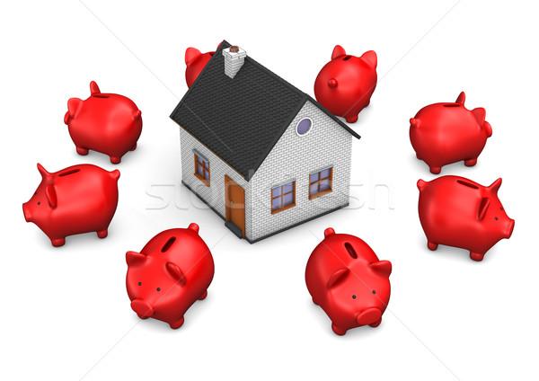 дома красный Банки здании белый Сток-фото © limbi007