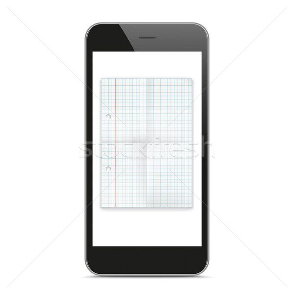 Black Smartphone Checked Folded Paper Mockup Stock photo © limbi007