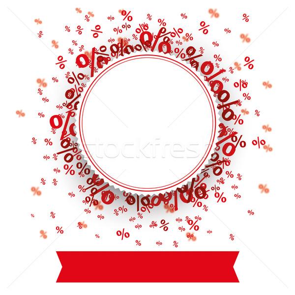 Paper Prongs Emblem Red Banner Percents Stock photo © limbi007