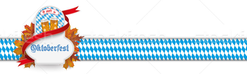 Oktoberfest Beer Emblem Ribbon Foliage Bavarian Header SH Stock photo © limbi007