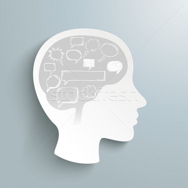 Humaine tête cerveau gris eps Photo stock © limbi007