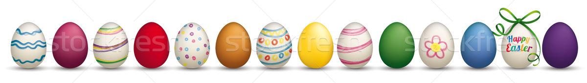 14 Happy Easter Eggs Ribbon Header Ribbon Stock photo © limbi007