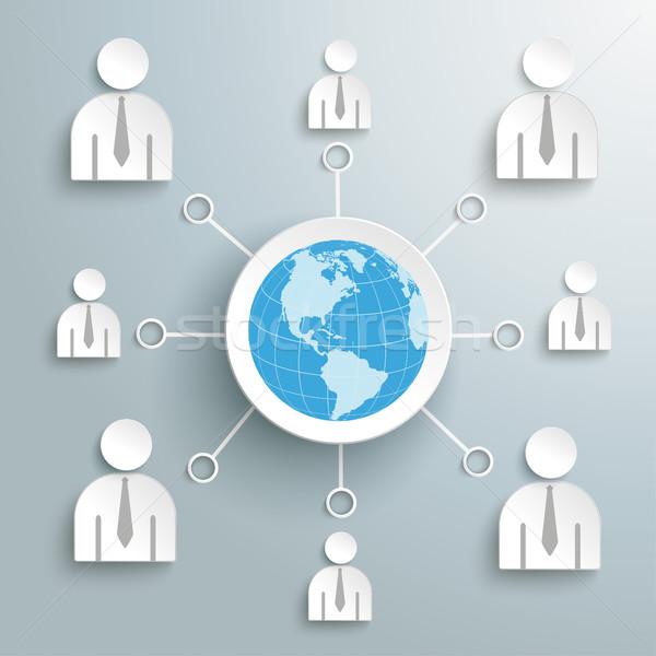 Empresários rede social globo negócio centro eps Foto stock © limbi007