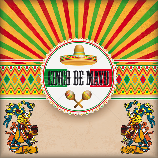 Cover Retro Sun Cinco De Mayo Ornaments Emblem Maya Gods Stock photo © limbi007