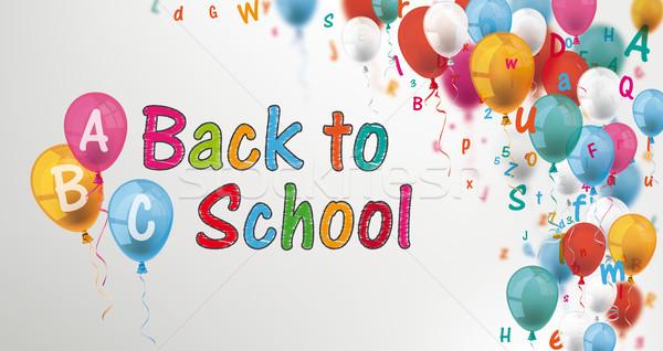 Cartas balões de volta à escola cinza Foto stock © limbi007
