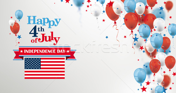 4th July US Flag Balloons Stars Cover Header Stock photo © limbi007