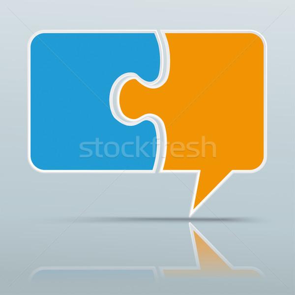 Gekleurd papier tekstballon puzzel grijs spiegel Stockfoto © limbi007