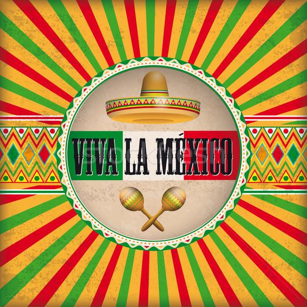Retro Sun Hole Viva La Mexico Stock photo © limbi007