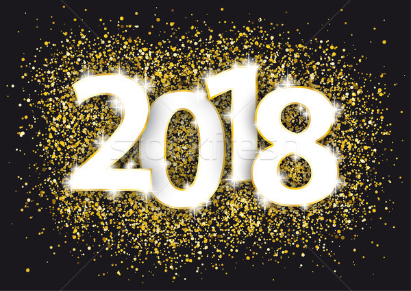 2018 Golden Confetti Black  Stock photo © limbi007