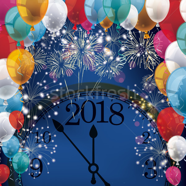 Silvester Fireworks Balloons Banner Clock 2018 Stock photo © limbi007