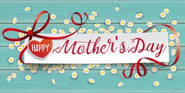 Turquoise Wood Daisy Paper Banner Mothersday Stock photo © limbi007