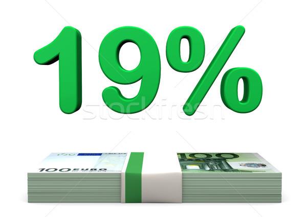 19 Euro százalék zöld szín bankjegyek Stock fotó © limbi007