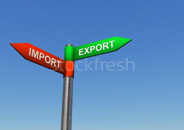 Irányok import export útjelző tábla kettő szöveg Stock fotó © limbi007