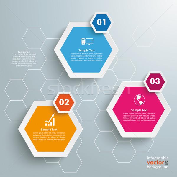 Stockfoto: Drie · gekleurd · honingraat · structuur · grijs