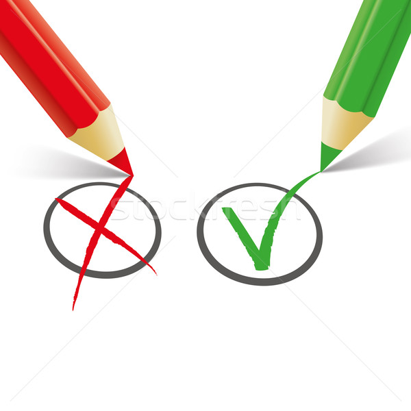 Rood groene pen verkeerd lijst Stockfoto © limbi007