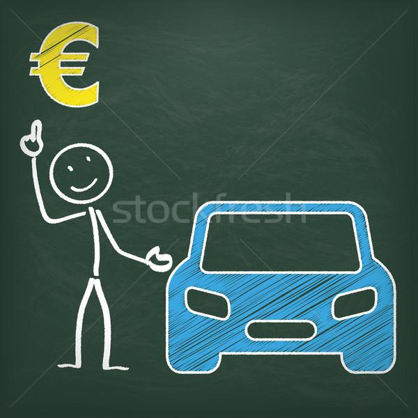 Blackboard Stickman Car Euro Stock photo © limbi007