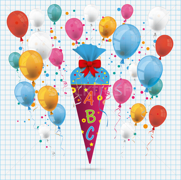 Candy Cone Balloons Checked Paper Stock photo © limbi007