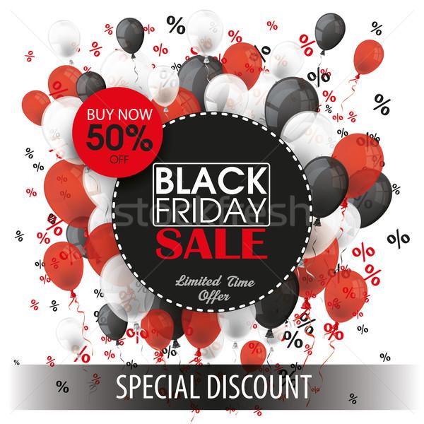 Black friday kâğıt circles siyah balonlar kırmızı Stok fotoğraf © limbi007