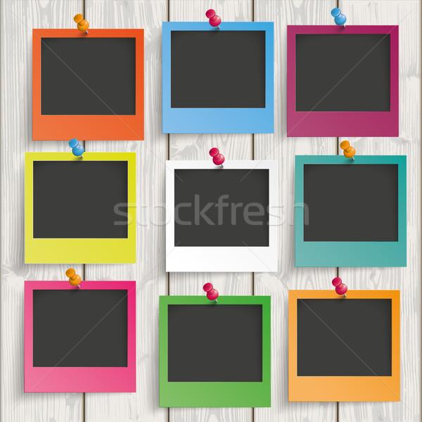 Colorato immediato foto legno nove fotogrammi Foto d'archivio © limbi007