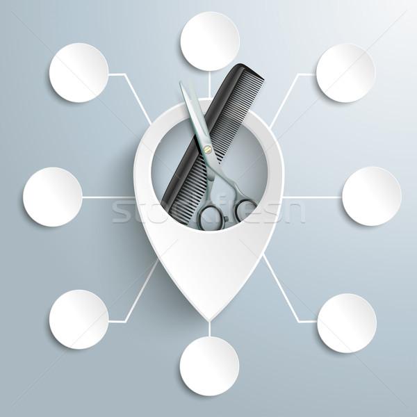 White Location Marker Scissors Comb 8 Circles Stock photo © limbi007