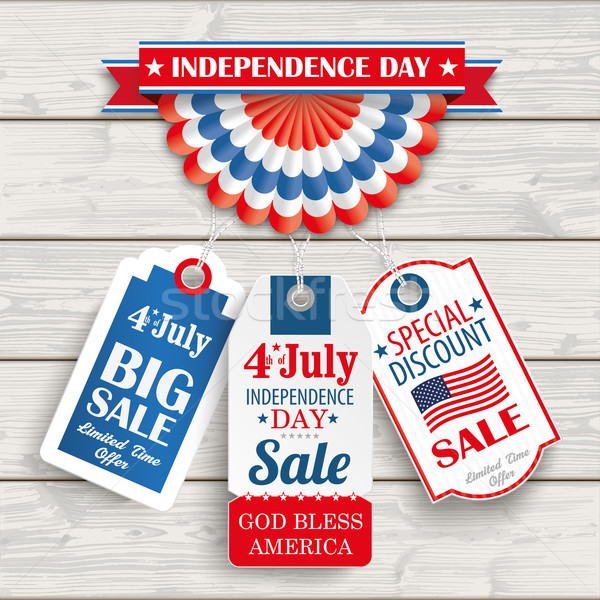 Independence Day Bunting 3 Price Stickers Wood Stock photo © limbi007