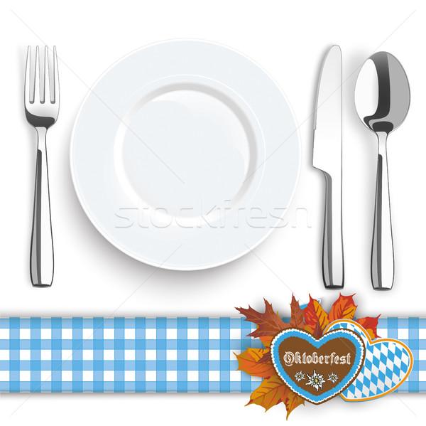 Kés villa kanál tányér Oktoberfest kék Stock fotó © limbi007
