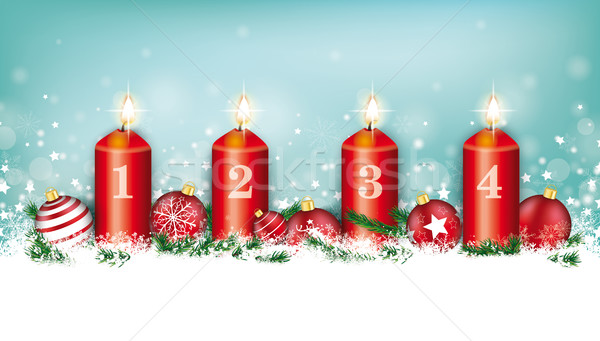 Cyan Christmas Card Header Snowflakes Baubles 4 Advent Stock photo © limbi007