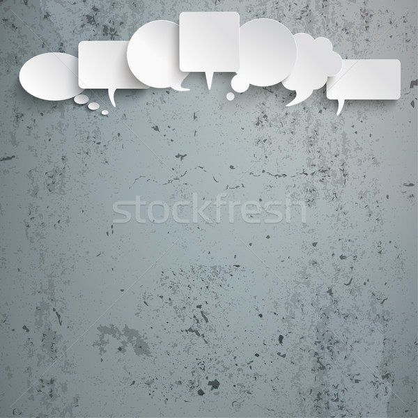 White Speech Bubbles Head Concrete Stock photo © limbi007