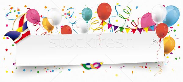 White Paper Banner Balloons Jesters Cap Stock photo © limbi007