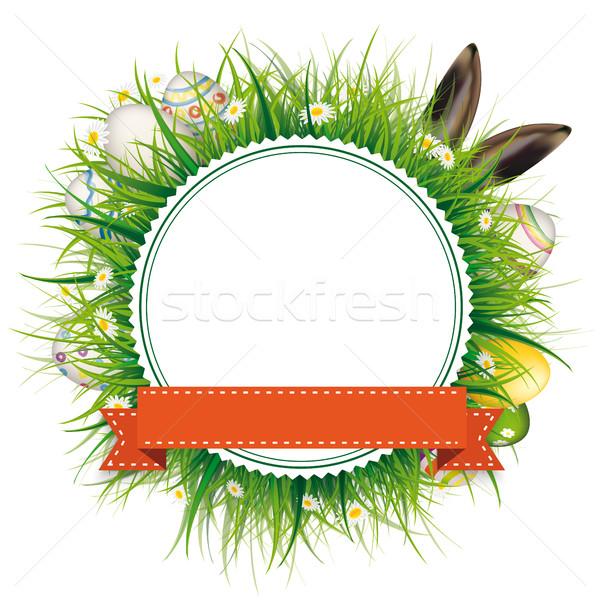 Húsvéti tojások nyúl fülek embléma szalag zöld fű Stock fotó © limbi007
