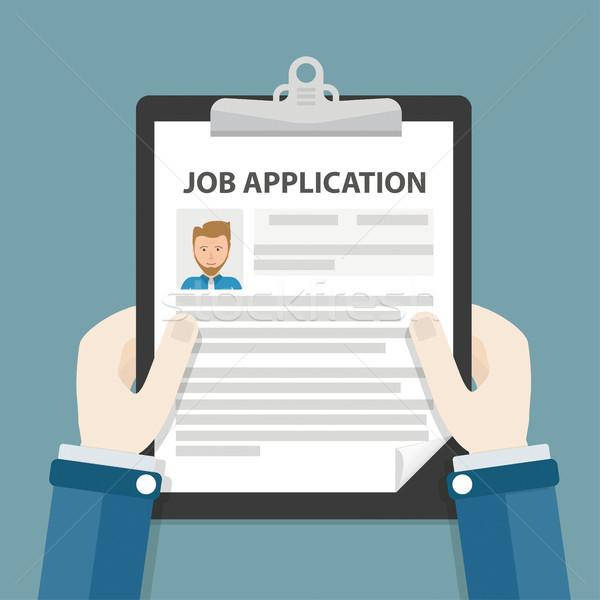 Hands Clipboard Job Application Stock photo © limbi007