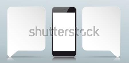 2 Paper Speech Bubbles Smartphone Gray Mirror Stock photo © limbi007