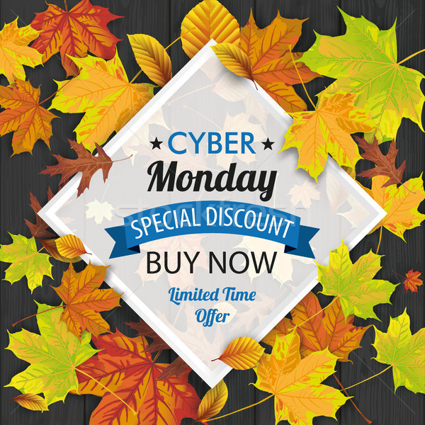 Cyber Monday Wood Autumn Foliage Frame Stock photo © limbi007
