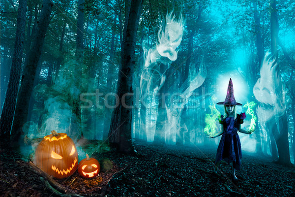 Halloween Forest Spirits And Witch Stock photo © limbi007