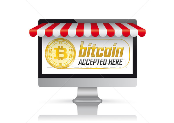 PC Monitor Red Awning Bitcoin Accepted Here Stock photo © limbi007