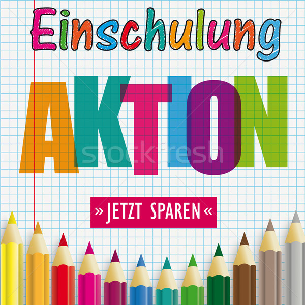 Colored Pencils Checked Paper Einschulung Aktion Stock photo © limbi007
