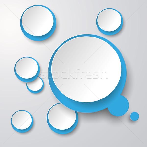 Azul blanco burbuja de pensamiento círculos gris eps Foto stock © limbi007