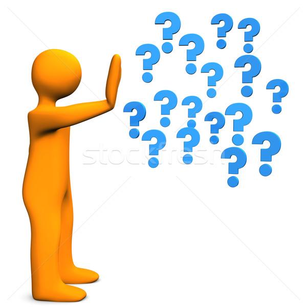 Stoppen vragen oranje Blauw business Stockfoto © limbi007