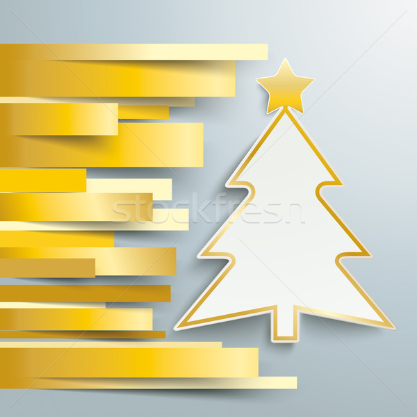 Christmas Tree Golden Stripes Stock photo © limbi007