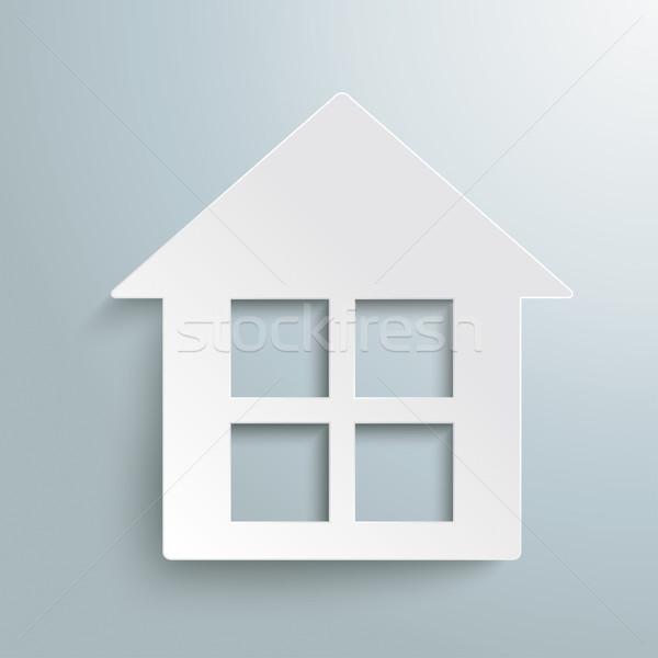 Maison blanche blanche papier maison design gris Photo stock © limbi007