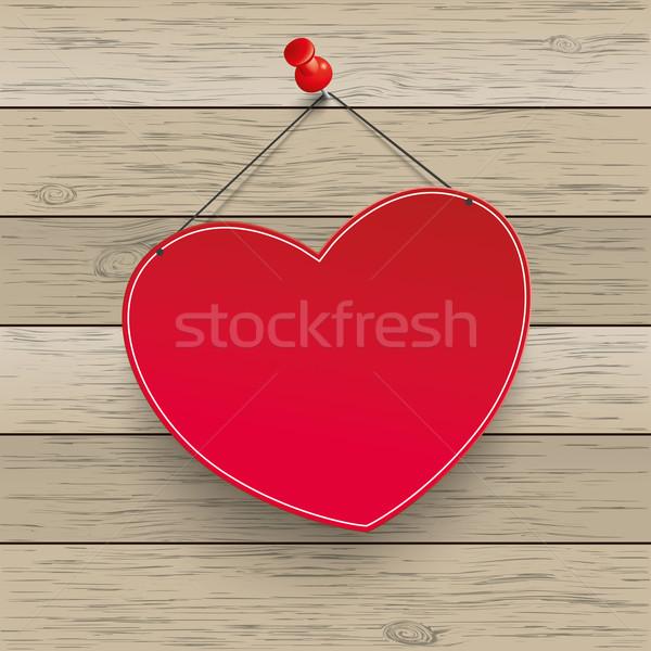 Red Heart Thumbtack Wood Stock photo © limbi007