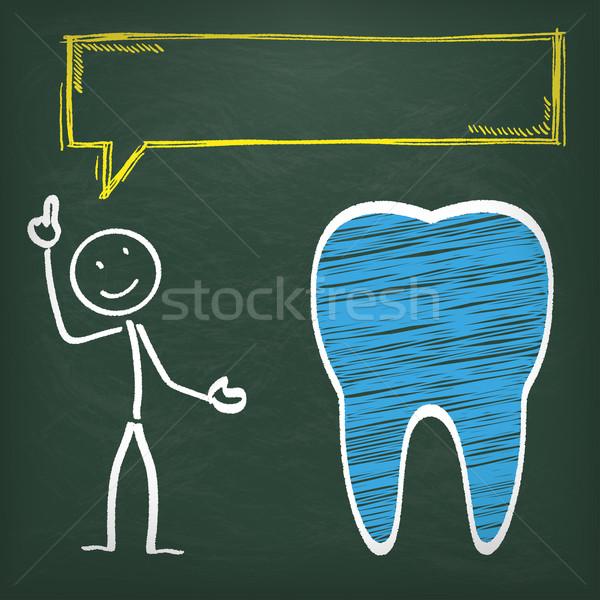 Blackboard Stickman Tooth Speech Bubble Stock photo © limbi007