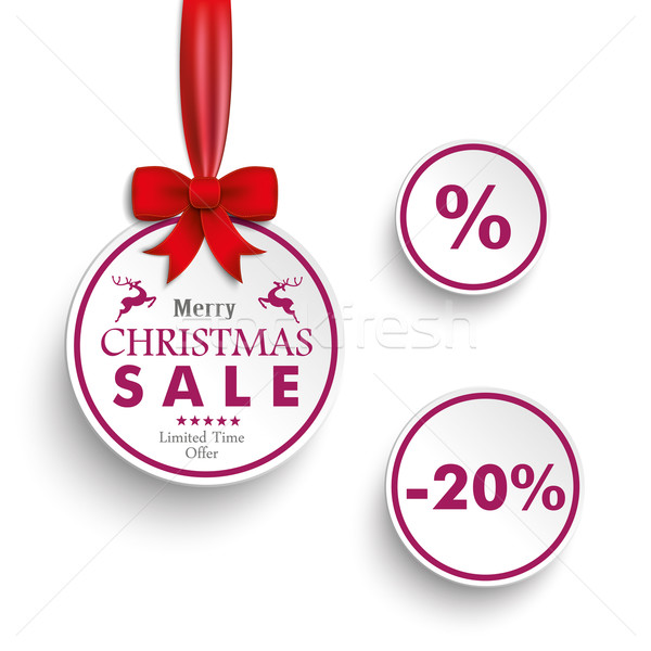 3 Purple Christmas Circles Ribbon Stock photo © limbi007