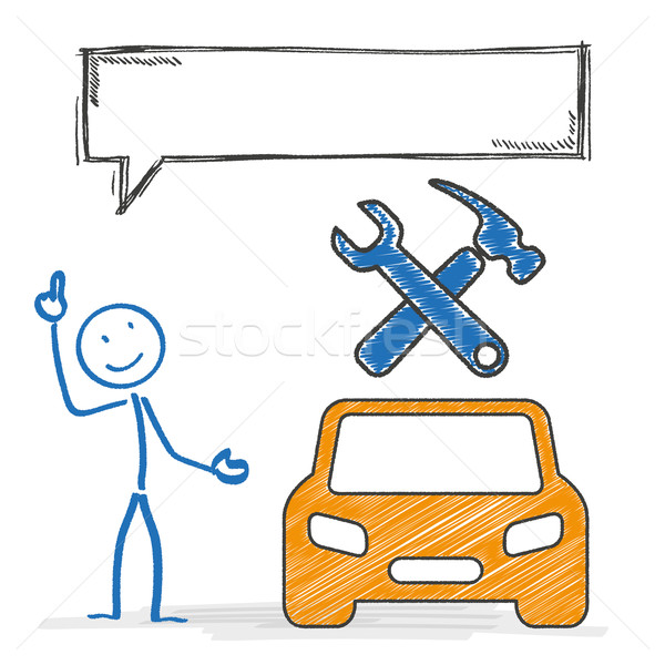 Stickmen Car Repair Shop Speech Bubble Stock photo © limbi007